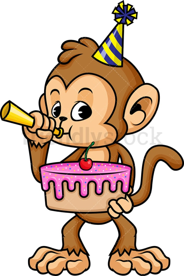 Monkey cartoon character holding birthday cake. PNG - JPG and vector EPS (infinitely scalable).