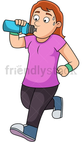 Running woman drinking water to hydrate. PNG - JPG and vector EPS file formats (infinitely scalable).