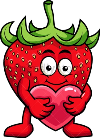 Strawberry cartoon character hugging heart icon. PNG - JPG and vector EPS (infinitely scalable). Image isolated on transparent background.