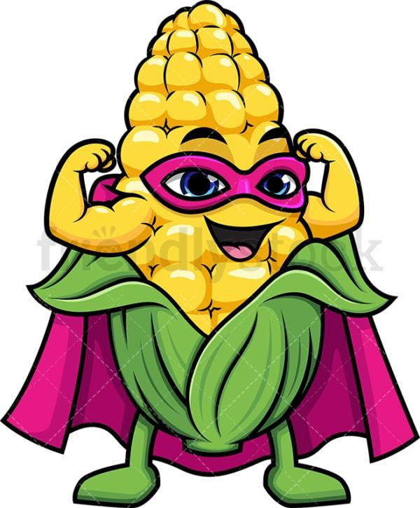 Superhero corn cartoon character. PNG - JPG and vector EPS (infinitely scalable).