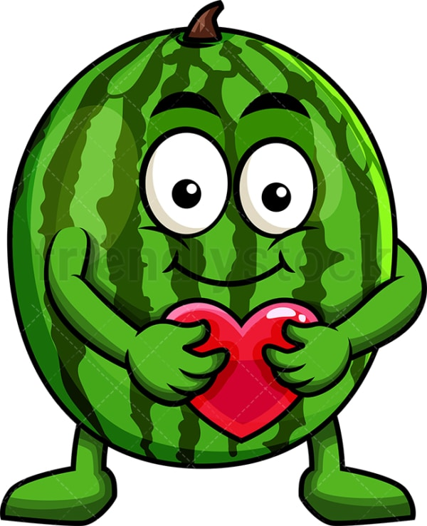 Watermelon cartoon character hugging heart icon. PNG - JPG and vector EPS (infinitely scalable). Image isolated on transparent background.