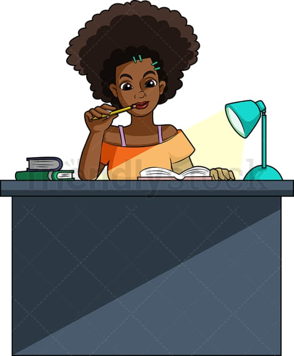 African-American woman studying. PNG - JPG and vector EPS (infinitely scalable).