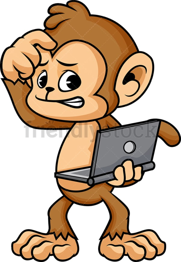 Confused monkey cartoon holding computer. PNG - JPG and vector EPS (infinitely scalable).
