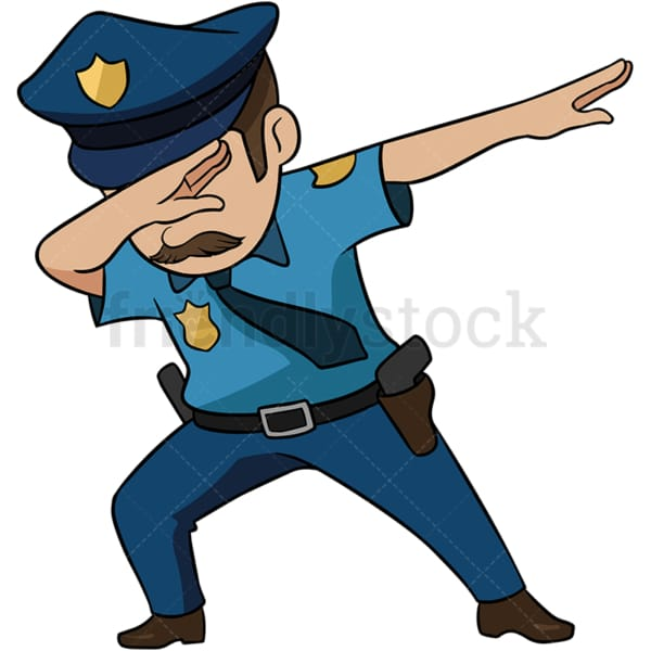 Dabbing police officer with moustache. PNG - JPG and vector EPS (infinitely scalable). Image isolated on transparent background.