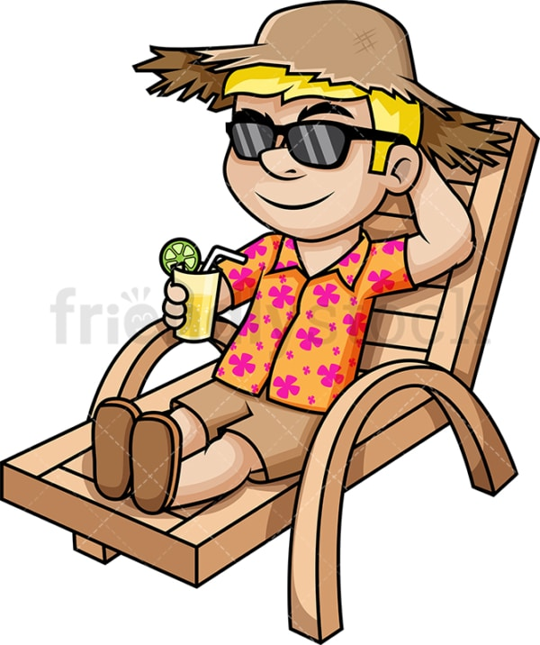 Man relaxing on beach chair during summer vacation. PNG - JPG and vector EPS (infinitely scalable).