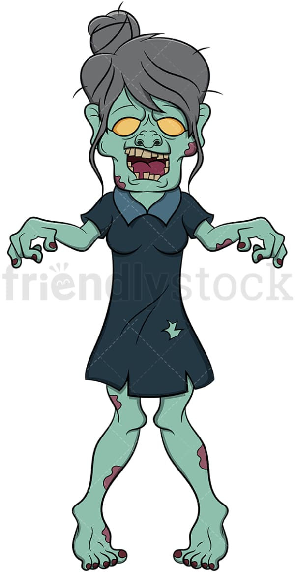 Mature woman zombie. PNG - JPG and vector EPS (infinitely scalable). Image isolated on transparent background.