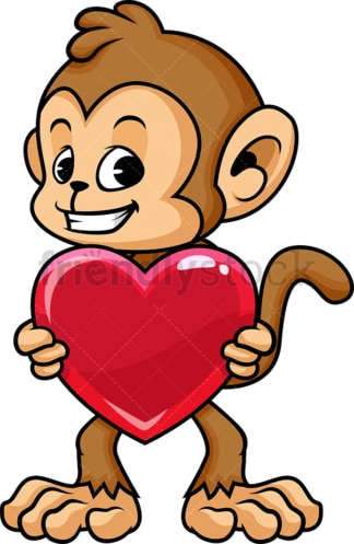 Monkey cartoon character holding heart. PNG - JPG and vector EPS (infinitely scalable).
