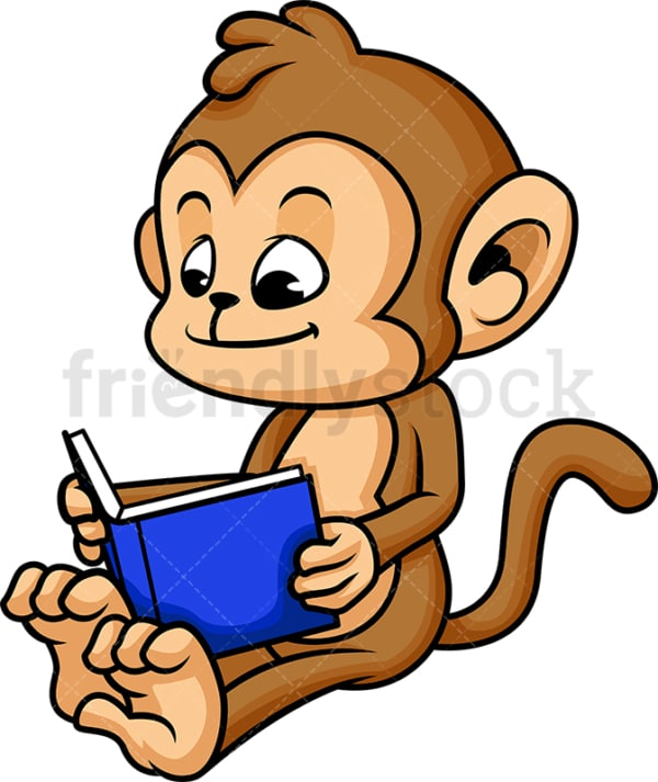 Monkey cartoon reading book. PNG - JPG and vector EPS (infinitely scalable).