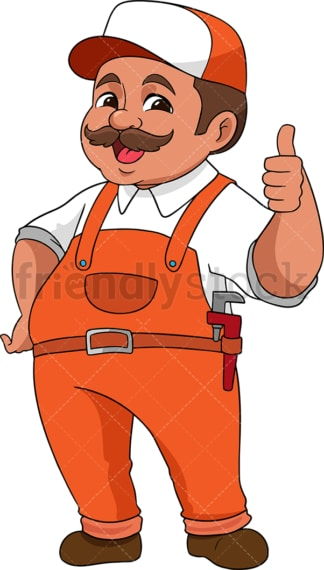 Handyman making thumbs up gesture. PNG - JPG and vector EPS (infinitely scalable). Image isolated on transparent background.