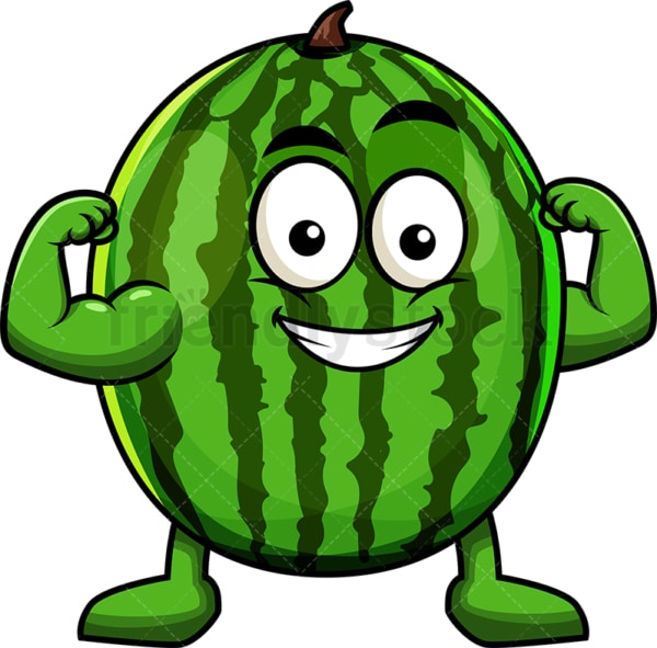 Watermelon cartoon character flexing muscles. PNG - JPG and vector EPS (infinitely scalable). Image isolated on transparent background.