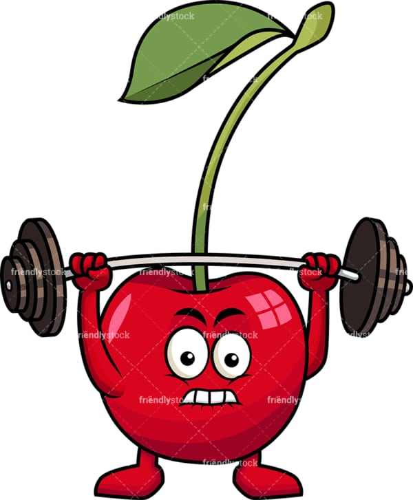 Cherry cartoon character lifting weights. PNG - JPG and vector EPS (infinitely scalable). Image isolated on transparent background.
