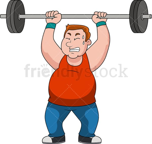 Fat man lifting barbell for exercise. PNG - JPG and vector EPS file formats (infinitely scalable).