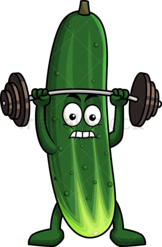 Cucumber cartoon character lifting weights. PNG - JPG and vector EPS (infinitely scalable). Image isolated on transparent background.