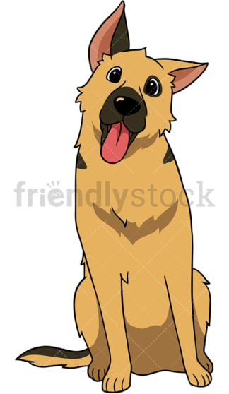 German shepherd dog head tilt. PNG - JPG and vector EPS (infinitely scalable).