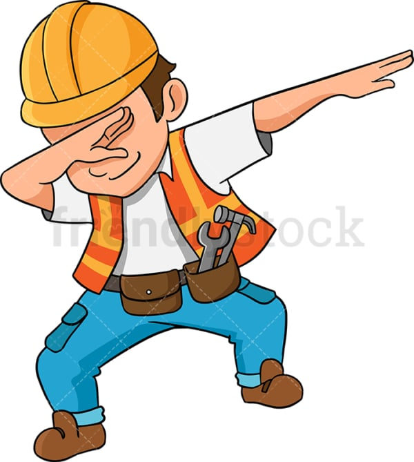 Dabbing construction worker. PNG - JPG and vector EPS (infinitely scalable). Image isolated on transparent background.