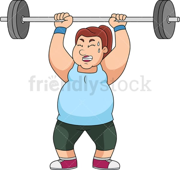 Fat woman lifting barbell for exercise. PNG - JPG and vector EPS file formats (infinitely scalable).