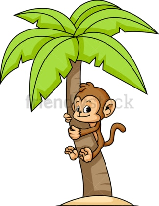 Monkey cartoon character climbing palm tree. PNG - JPG and vector EPS (infinitely scalable).