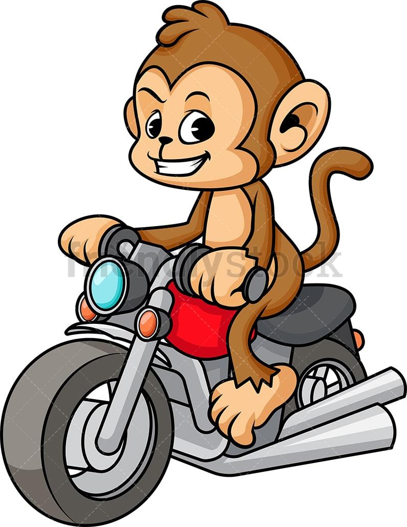Monkey Riding Motorcycle Cartoon Vector Clipart ...