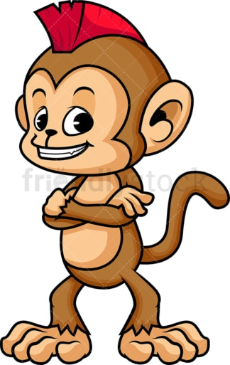 Monkey cartoon with mohawk. PNG - JPG and vector EPS (infinitely scalable)
