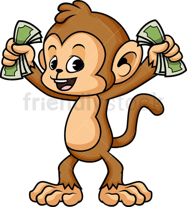 Monkey cartoon with money. PNG - JPG and vector EPS (infinitely scalable).