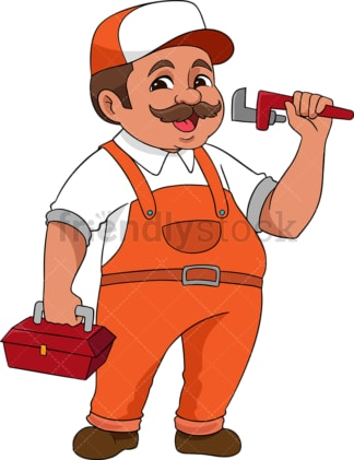 Handyman holding plumbing tools. PNG - JPG and vector EPS (infinitely scalable). Image isolated on transparent background.