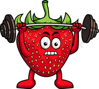 Strawberry cartoon character lifting weights. PNG - JPG and vector EPS (infinitely scalable). Image isolated on transparent background.