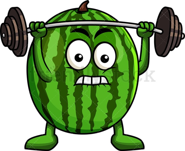 Watermelon cartoon character lifting weights. PNG - JPG and vector EPS (infinitely scalable). Image isolated on transparent background.