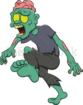 Zombie walking with brains showing. PNG - JPG and vector EPS (infinitely scalable). Image isolated on transparent background.