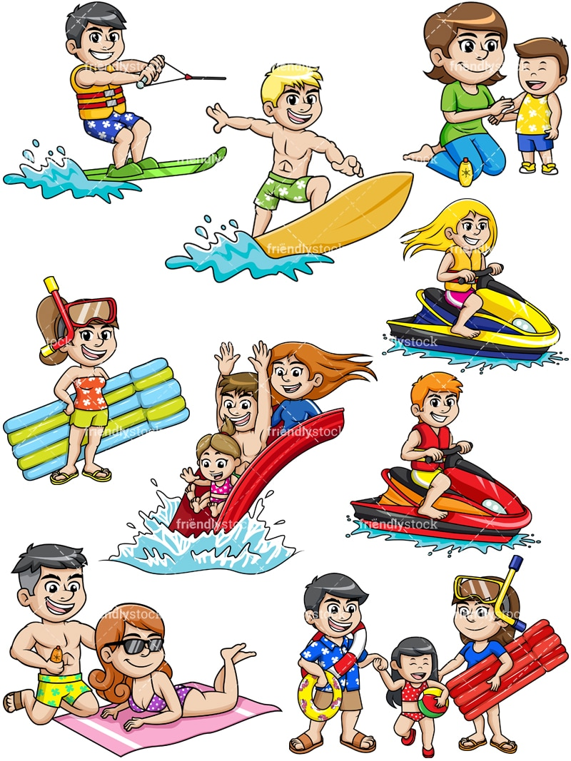 People On Summer Vacation Cartoon Vector Clipart ...
