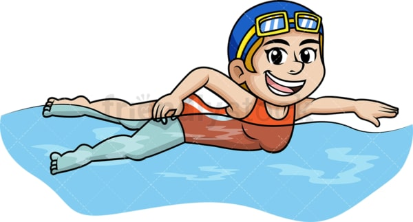 Young girl swimming during summer vacation. PNG - JPG and vector EPS file formats.
