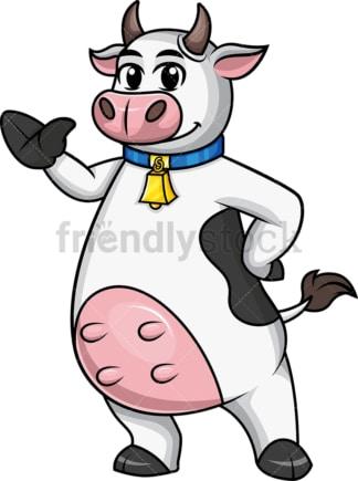 Cow mascot waving. PNG