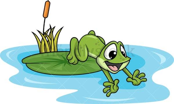 Frog jumping into lake. Transparent PNG