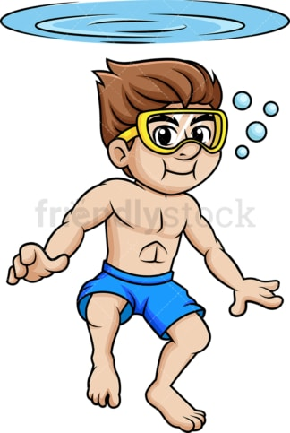 Guy with goggles swims beneath the surface holding his breath. PNG - JPG and vector EPS file formats.