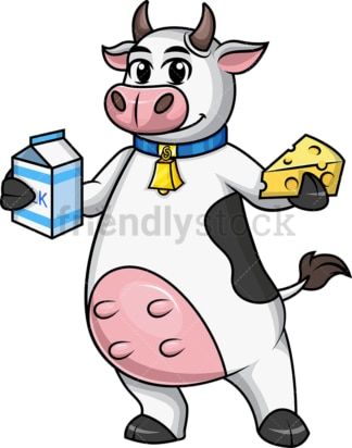 Cow holds milk and cheese. PNG