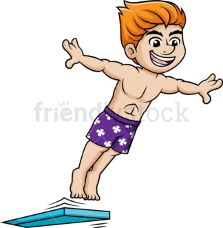 Man jumps into pool from springboard. PNG - JPG and vector EPS file formats.