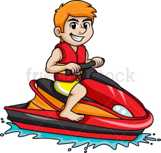 Guy riding a red jet ski. PNG - JPG and vector EPS file formats.