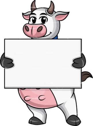 Cow mascot holding empty sign. PNG - JPG and vector EPS file formats.