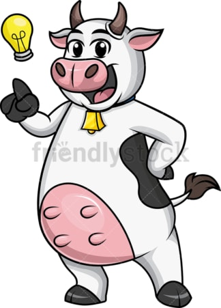 Cow mascot has an idea. PNG
