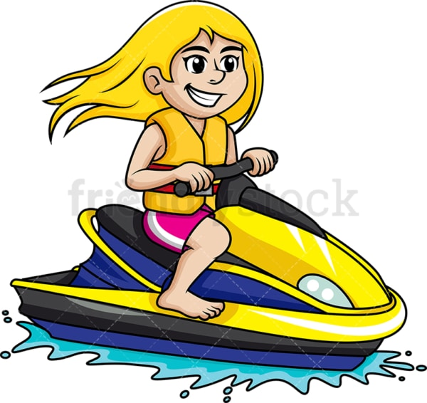 Young girl riding a jet ski. PNG - JPG and vector EPS file formats.