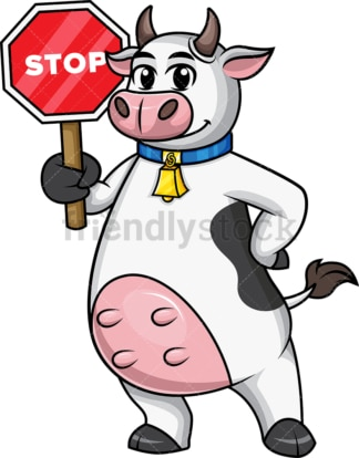 Cow mascot holding red stop sign. PNG - JPG and vector EPS file formats.