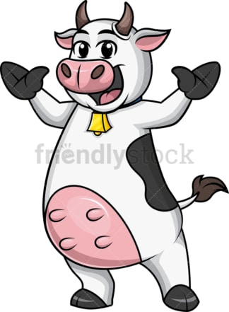 Enthusiastic cow mascot. PNG