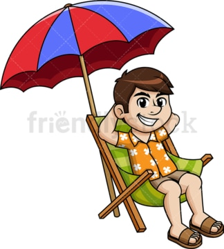 Guy relaxing on the beach under sea umbrella. PNG - JPG and vector EPS file formats.