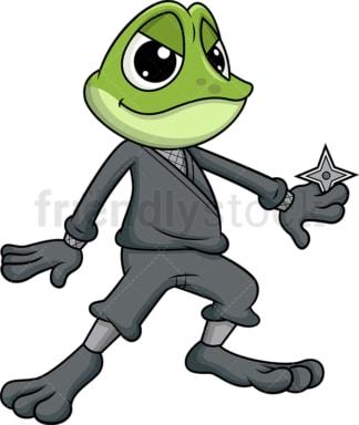Ninja frog mascot. Transparent PNG