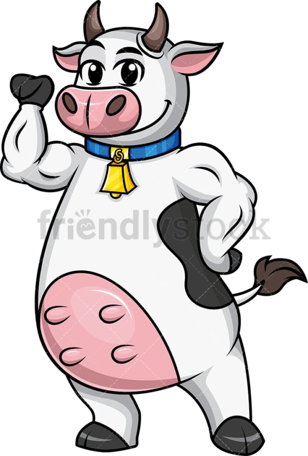 Cow mascot flexes muscles. PNG