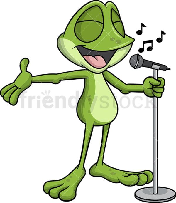 Frog mascot singing karaoke. Transparent PNG