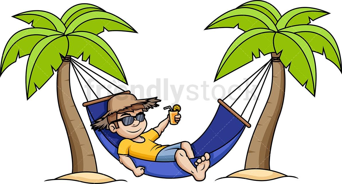 Man Relaxing In Hammock Cartoon Vector Clipart