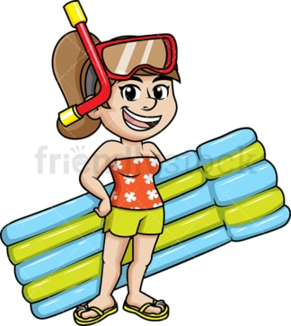Girl with snorkel and sea mattress. PNG - JPG and vector EPS file formats.