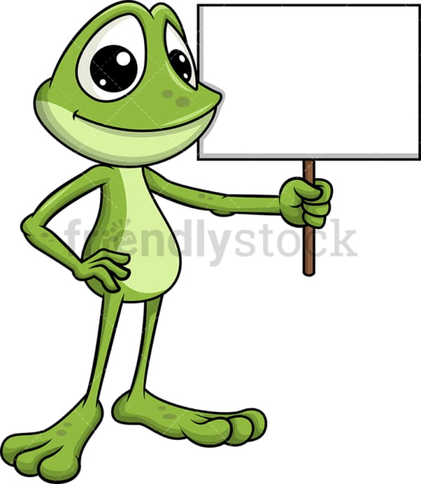 Frog mascot holding empty sign. Transparent PNG