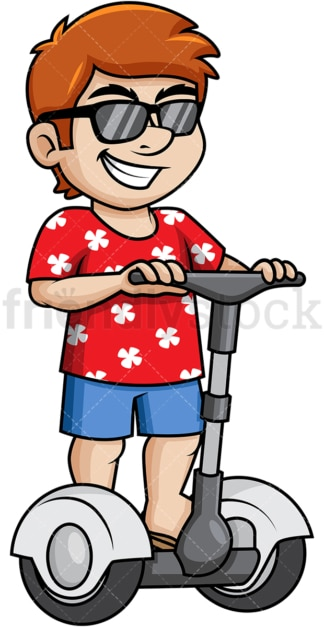 Man riding segway during summer vacation. PNG - JPG and vector EPS file formats.