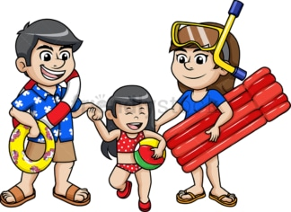 Happy family going for a swim. PNG - JPG and vector EPS file formats.